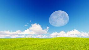 Landscape green grass blue sky 3d rendering Royalty Free Stock Photo