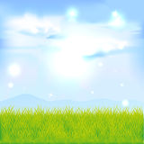 Landscape with green grass and blue sky Stock Photos