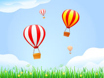 Landscape With Green Grass and Hot Air Balloons Stock Photo
