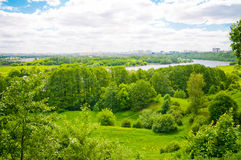 Landscape with green grass, river Royalty Free Stock Image