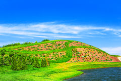 Landscape with green hill Stock Photo