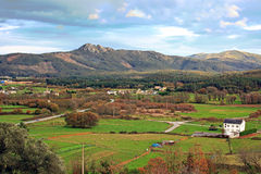 Landscape of green hills in galicia, spain Royalty Free Stock Photo