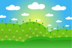 Landscape with green hills, gardens, forests, blue sky, white clouds, yellow sun, flat design. Vector Stock Image