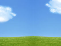 Landscape of Green land. And blue sky with some clouds and enough copyspace Royalty Free Stock Images