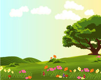 Landscape of green meadow with colourful flowers stock illustration