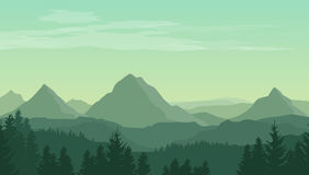Landscape with green silhouettes of mountains, hills and forest. And clouds in the sky - vector illustration