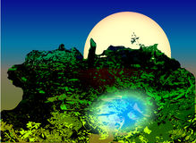 Landscape with green swamp, pond and moonlight Royalty Free Stock Images
