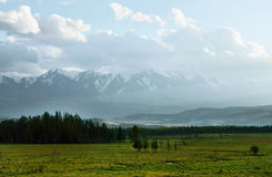 Landscape with green valley and snowy mountains Royalty Free Stock Photos