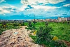 Tripoli city, Lebanon. Landscape with green valley and Tripoli city, Lebanon royalty free stock image
