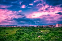 Tripoli city at sunset, Lebanon. Landscape with green valley and Tripoli city at sunset, Lebanon stock photography