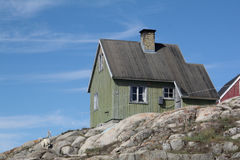 Landscape in Greenland. House in Saqqaq - Western Greenland Stock Photo