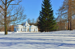 Landscape with  the. Landscape with Grot pavillion in Catherine garden. Winter snowy sunny view in Pushkin, Russia Stock Photos