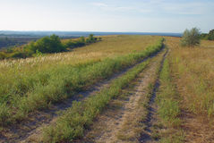 Landscape with ground road in rural, and sky Royalty Free Stock Photography