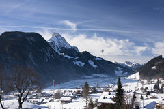 Landscape of Gstaad in Switzerland, with snow in winter, with a Stock Photo