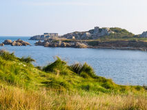 Landscape on the Guernsey Island. Seacoast and view of the gulf. Landscape on the Guernsey Island, Channel Islands Royalty Free Stock Image