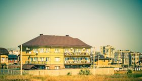 A guest house. Landscape with a guest house Royalty Free Stock Photo