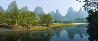 Landscape of Guilin Chin. Scene in river and mountain of Guilin China Royalty Free Stock Photo