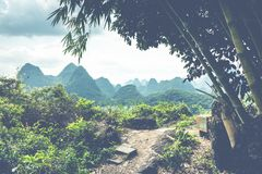 Landscape of Guilin, Karst mountains. Located near Yangshuo, Gui. Lin, Guangxi, China Royalty Free Stock Photography