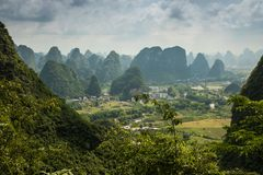 Landscape of Guilin, Karst mountains. Located near Yangshuo, Gui. Lin, Guangxi, China Stock Image