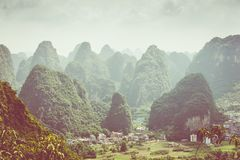 Landscape of Guilin, Karst mountains. Located near Yangshuo, Gui. Lin, Guangxi, China Royalty Free Stock Photos