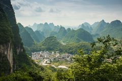 Landscape of Guilin, Karst mountains. Located near Yangshuo, Gui Royalty Free Stock Photo