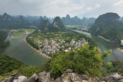Landscape of Guilin, Li River and Karst mountains. Located near. The Ancient Town of Xingping, Yangshuo, Guilin, Guangxi, China Royalty Free Stock Images