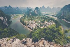 Landscape of Guilin, Li River and Karst mountains. Located near. The Ancient Town of Xingping, Yangshuo, Guilin, Guangxi, China Stock Image