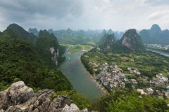 Landscape of Guilin, Li River and Karst mountains. Located near. The Ancient Town of Xingping, Yangshuo, Guilin, Guangxi, China Royalty Free Stock Photo
