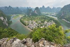 Landscape of Guilin, Li River and Karst mountains. Located near Royalty Free Stock Photo
