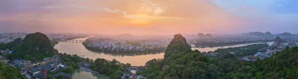 Landscape of Guilin, Li River and Karst mountains. Located near Yangshuo County, Guangxi Province, China Royalty Free Stock Photography