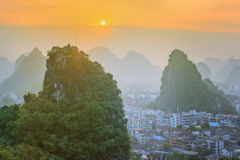 Landscape of Guilin, Li River and Karst mountains. Located near Yangshuo County, Guangxi Province, China Royalty Free Stock Images