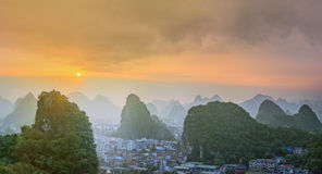 Landscape of Guilin, Li River and Karst mountains. Located near Yangshuo County, Guangxi Province, China Stock Image