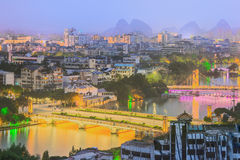 Landscape of Guilin, Li River and Karst mountains. Located near Yangshuo County, Guangxi Province, China Royalty Free Stock Photo