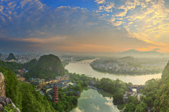 Landscape of Guilin, Li River and Karst mountains. Located near Yangshuo County, Guangxi Province, China Stock Photo