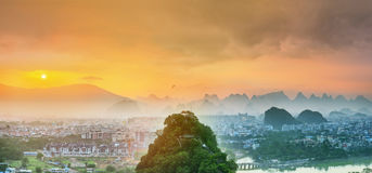 Landscape of Guilin, Li River and Karst mountains. Located near Yangshuo County, Guangxi Province, China Stock Images