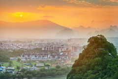 Landscape of Guilin, Li River and Karst mountains. Located near Yangshuo County, Guangxi Province, China Royalty Free Stock Image
