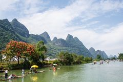 Landscape of Guilin, Li River and Karst mountains. Located in Yangshuo County, Guilin City, Guangxi Province, China. royalty free stock photography