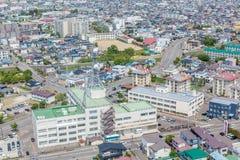 Landscape Hakodate city from Goryokaku tower. Stock Images
