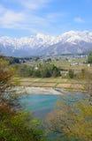 Landscape of Hakuba in Nagano, Japan. Landscape of the village of Hakuba and Shirouma mountains in Nagano, Japan Stock Images