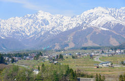 Landscape of Hakuba in Nagano, Japan. Landscape of the village of Hakuba and Shirouma mountains in Nagano, Japan Royalty Free Stock Image