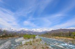 Landscape of Hakuba in Nagano, Japan. Landscape of the village of Hakuba and Shirouma mountains in Nagano, Japan Royalty Free Stock Images