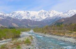 Landscape of Hakuba in Nagano, Japan. Landscape of the village of Hakuba and Shirouma mountains in Nagano, Japan Stock Image