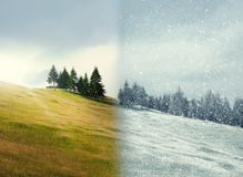 Landscape half autumn-half winter. The concept of changing seasons vector illustration