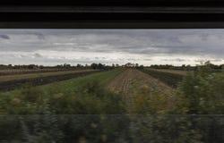 Landscape through a half-windowed window of the train Stock Photo