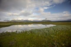 Landscape of Hallo Bay. A view of Hallo Bay's surrounding mountains. Photo taken on August, 2016, Hallo Bay, Katmai National park, Alaska Royalty Free Stock Image
