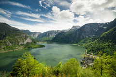 Landscape of Hallstatt lake and town Stock Photos