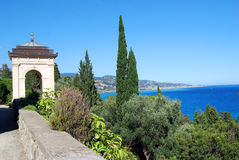 Landscape from Hanbury Villa. Villa Hanbury in the Botanical Gardens Hanbury near Ventimiglia, Liguria in Italy Royalty Free Stock Photo