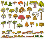 Landscape hand drawn isolated elements  set. Doodle sketch Royalty Free Stock Images