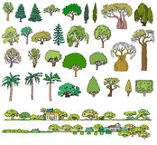 Landscape hand drawn isolated elements  set. Varied in for. M and color sketchy trees,bushes and houses.Summer time Royalty Free Stock Photos