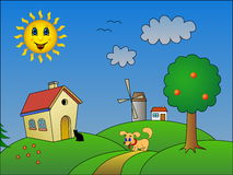 Landscape with happy sun Royalty Free Stock Image